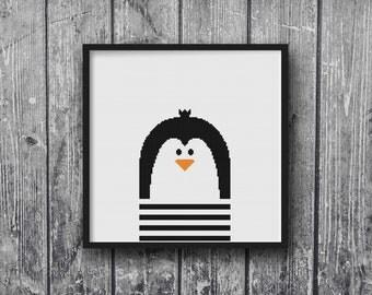 Black White Penguin Cross Stitch Pattern Needlepoint Embroidery Baby Nursery Cute Zoo Print DIY Art Decor Shower Gift Modern Kids Animal