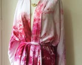 early bird robe sale Hand Dyed Kimono Robe in Peony, Tie Dye, Shibori, Rayon Bathrobe, Anna Joyce, Portland, OR.