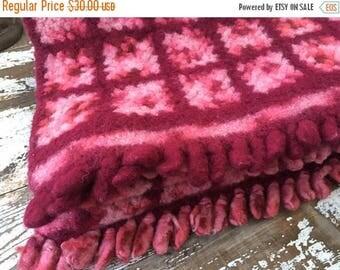 SALE- Vintage Afghan Blanket-Magenta and Pink-Felted Wool