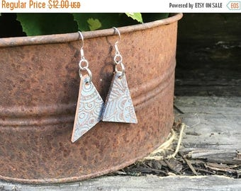 40% OFF- Embossed Leather Earrings-Shimmer-Triangles-Boho Earrings