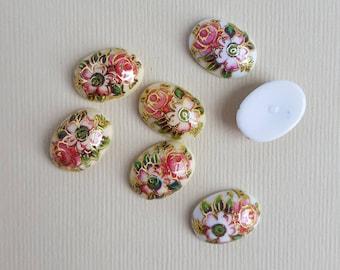 Vintage floral design cabochons
