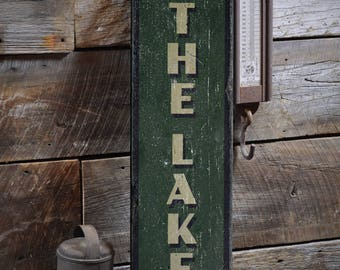 To The Lake Sign, Wood Lake Decor, Lake Lover Gift, Lake Arrow Sign, Lake House Sign, Lake Gift, HandMade Vintage Wooden Sign ENS1001858