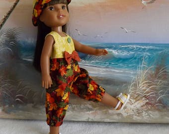 "14 and 14.5"" Doll Fall Autumn Colors Rompers With Reversible Hat Fits Dolls like H4H and Wellie Wishers"