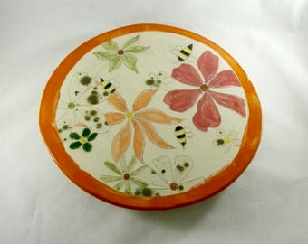 Turntable Lazy Susan, Serving Platter, Save the Bees Kitchen Decor Ceramic Table Centerpiece, Anniversary Gift, Wedding Gift, Unique Pottery