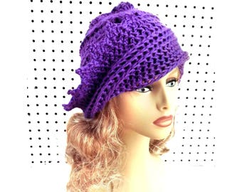 Womens Crochet Hat, Womens Hat Trendy, Crochet Beanie Hat, Iris Purple Hat, Lauren Beanie Hat for Women, Unique Gift
