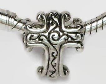 Scrollwork Cross Large Hole European Bead Silver Tone Antiqued