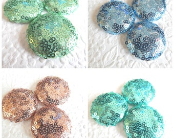 Aqua blue copper green sparkly sequin fabric buttons, 1.5 inches, 3.81 cm, 38.1 mm, size 60 buttons, price per button