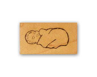 Swaddled Baby Jesus mounted rubber stamp, religious Christmas, Christian Crazy Mountain Stamps  #7