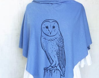 Womens Poncho - Hemp Organic Cotton Jersey Poncho - Womens Shawl - Light Blue Poncho - Ladies Screen Printed Poncho - Owl