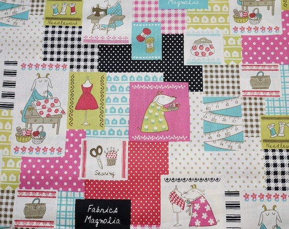 "50 cm (19,7"") fabric cotton Kokka - Pink - Black - Magnolia Fabrics - goats - sewing - patchwork - knitting - 100% Cotton - 110cm width"