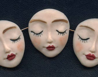 "Lot   of 3  One of a Kind      1 1/4 "" x 1""  Polymer Detailed Angel Face  Beads Side Drilled BMC 1"