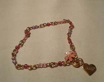 Vintage Chain and Bead Barbie Flower Bracelet