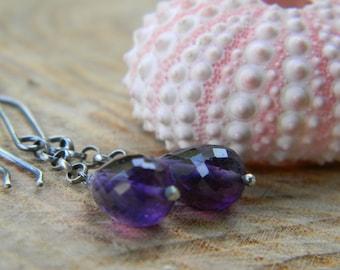 sparkling straight drilled amethyst earrings -  oxidized silver earrings