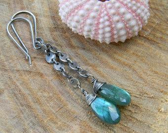 Green Labradorite Earrings on oxidized silver disc chain - long dangle earrings