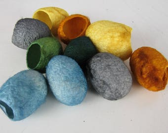 10 Mixed Yellow Blue Green Naturally Dyed Silk Cocoons
