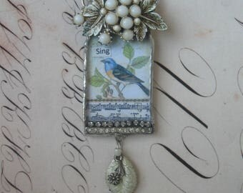 Sing, repurposed vintage, soldered, wearable art, assemblage, bird themed, bird image, upcycled, one of a kind, ooak, bird, singing,ooak