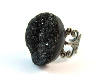 CIJ SALE Black Druzy Ring. Adjustable Antique Silver Filagree Band.  *** CLEARANCE Sale ***
