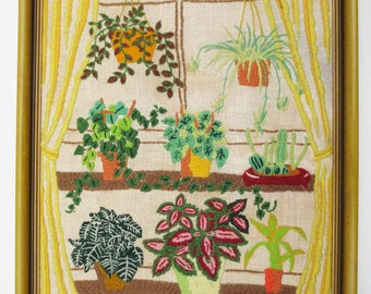 Vintage Crewel Embroidery Picture House Plants Boho Window 60s 70s Home  Decor Hippie Hand Made Framed