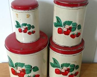 LOVE SALE vintage strawberry canister set