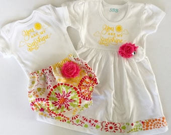 You are my sunshine--Sister OUTFITS ..pink snd yellow sister Set..new baby---baby shower