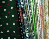 Green Mix Grab Bag Silk Kimono Scraps Set of 23 Craft Supply Asian Textile, Scrap Kimono Fabric