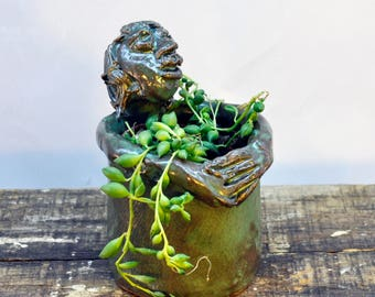 Handmade Ceramic Sculpted Treehugger with Green Glaze - Planter - Toothbrush/Utensils holder