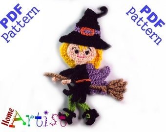 Witch Halloween crochet Applique Pattern
