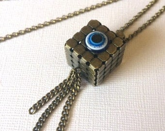 SUMMER SALE Square Cube Evil Eye Necklace on Bronze Rolo Chain