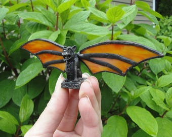 Stained Glass Gargoyle, Mini Sculpture, 3D Vintage Statue, Home Decor, Orange, Yellow, Terrarium, Fantasy, Vintage Glass, Whimsical,Mystical