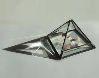 Modern Glass Terrarium, Pyramid, Beveled Glass, Planter, Home Decor, Display Case, Garden Art, Diorama, Atrium, Crystal Charging, Greenhouse
