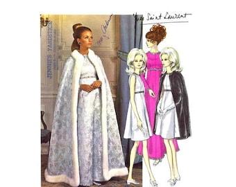 SALE 1960s Yves Saint Laurent Dress Queen Cape Vogue 1897 Vintage Sewing Pattern Vogue Paris Original LABEL INCLUDED Size 12 Bust 34 Uncut