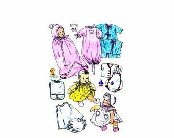 SALE 1950s Infants Layette Dress Panties Pinafore Bonnet Slip Playsuit Shirt Kimono Sleeping Bag Bunting Simplicity 1443 Vintage Sewing Patt