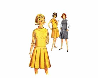 SALE 1960s Teens Blouse Jumper or Dress Simplicity 5161 Vintage Sewing Pattern Size 12 Bust 32