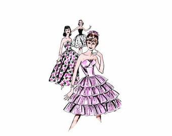 SALE 1960s Strapless Petal Bodice Evening Cocktail Dress Butterick 9624 Vintage Sewing Pattern Size 12 Bust 32