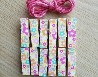 Colorful Flowers Clips w Twine for Photo Display - Chunky Little Clothespin Set of 12 - Gifts For Her - Gifts Under 10