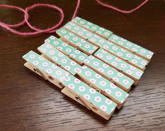Aqua Seafoam Teal Turquoise Daisy Flowers w Twine for Photo Display, Chunky Little Clothespin Clips Set of 12, Baby Shower Birthday Party