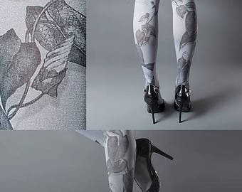 ON SALE/// Tattoo Tights -  Climber Plant grey one size full length closed toe pantyhose tattoo socks ,printed tights
