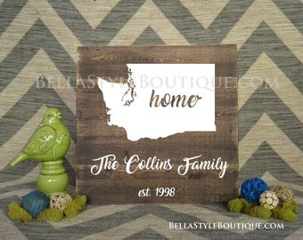 Home State Family Name Established Wood Sign 16x16