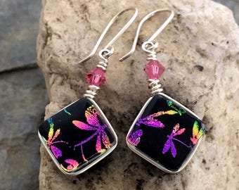 Rainbow Dragonfly Dichroic Glass Earrings  .. Wire Wrapped Sterling Silver Hooks