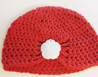 Half Price & Ready to Ship! Salmon colored flapper hat with brooch of your choice! Sized for a newborn