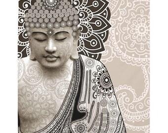 Buddha Tapestry - Meditation Mehndi - Paisley Buddha Artwork on Lightweight Polyester Fabric