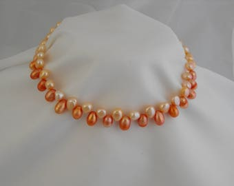 Fresh Water Pearl Necklace Set, Free Domestic Shipping, Peach Pearls, Pierced Earrings, Necklace 16 inches, Earrings 2.5 inches, Bridal,