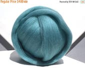 ROVING SALE Turquoise Merino wool roving, Needle Felting Spinning wool, aqua roving, w free fiber samples, light blue green, commercially dy