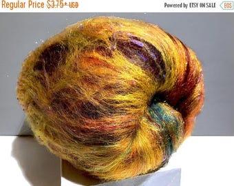 "Tour De Fleece SALE gold art batt, Spinning fiber ""Black-eyed Susan"" Nuno, Needle felting wool, Gold, black brown yellow purple green topaz"