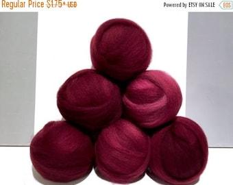 ROVING SALE Raspberry Felting Spinning Fiber, variegated, roving, w 3 samples, dark fuchsia, dark pink, bright, reddish pink *dyed to order*