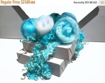"""KIT SALE Ice Blue Fiber Art Kit, Spinning, Felting kit """"On Frozen Pond"""" Ice blue white crystal blending fiber roving firestar locks angelina"""