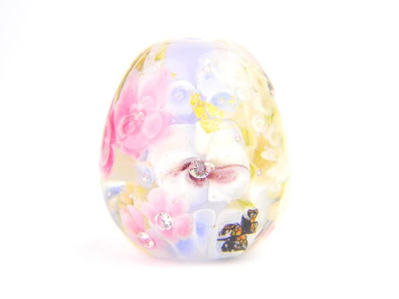 Lampwork Glass Beads - English garden flower bead 24x31mm - The Paradise Collection