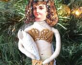 Turquoise Mermaid Spun Cotton Ornament Victorian Style OOAK Vintage Craft Folk Art