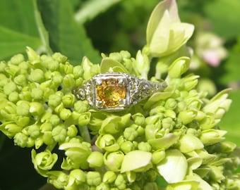 Estate 18k Yellow Sapphire Filigree Ring