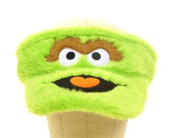 Sesame Street Visor / Vintage Oscar the Grouch Hat / Hip Hop Club Kid Raver Lolita Lollipop Festival Faux Fur Statement Sun Hat